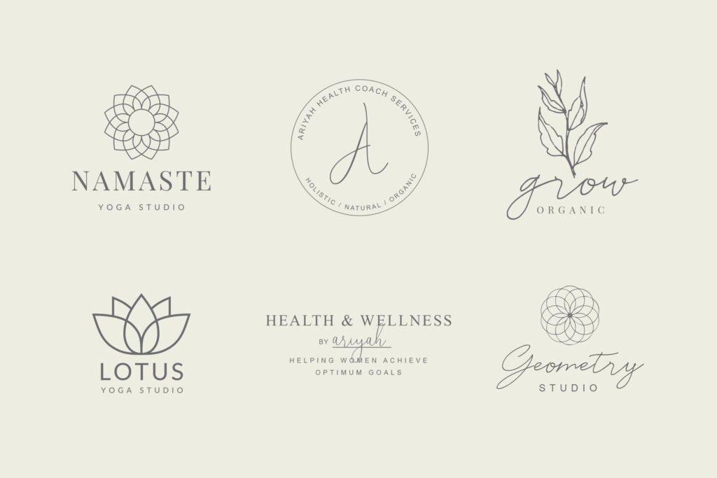 Yoga, heath and wellness logos