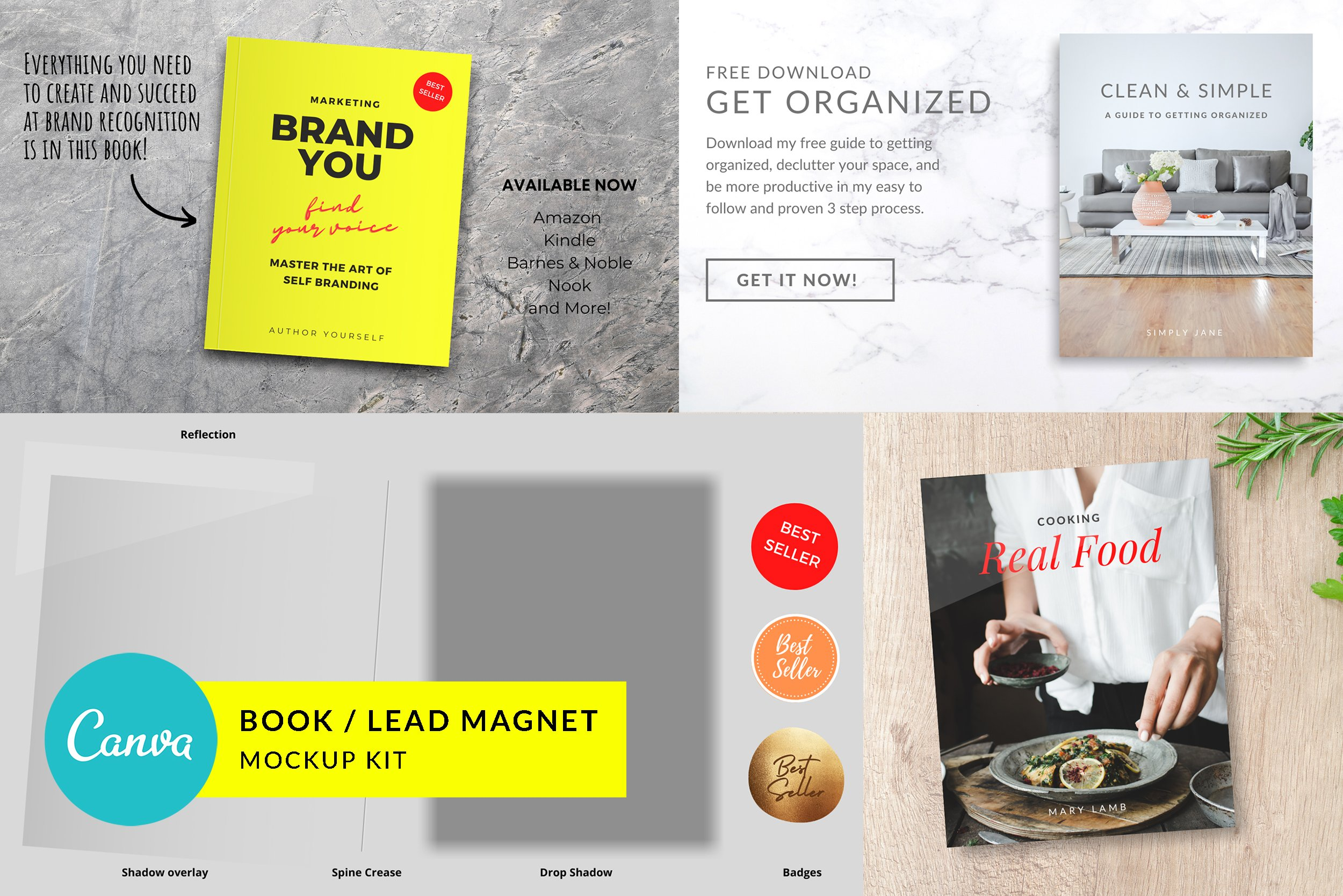 Canva Book and Lead Magnet Mockup